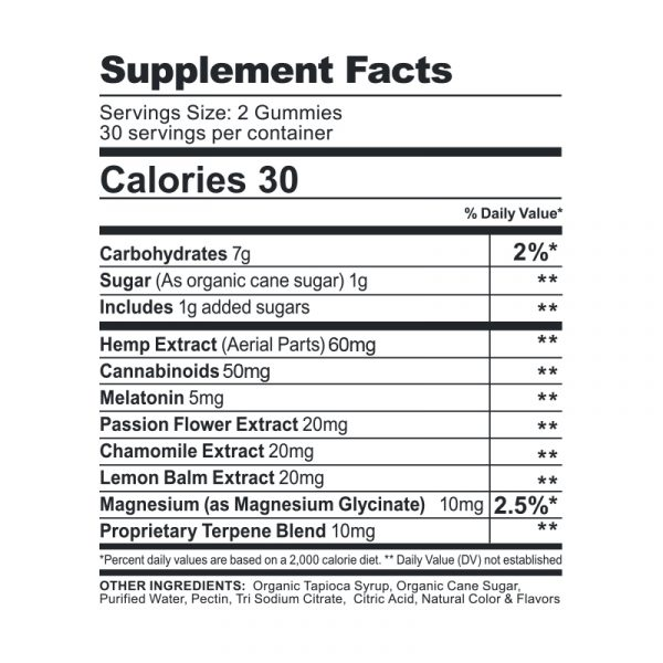 CBDfx Gummies Melatonin 1500mg - Label